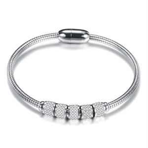 Jewelry - Silver Stainless Steel Magnetic Bracelets Bangle